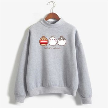 Cute hoodie women 2018 kawaii cats print sweatshirt friends hoodies harajuku moletom tumblr sudadera mujer fleece bff clothes