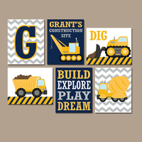 CONSTRUCTION Wall Art, CONSTRUCTION Trucks, CANVAS or Prints, Big Boy Room Decor, Construction Theme, Construction Quotes, Set of 6 Pictures