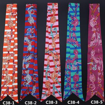 New style women silk handfeel scarf with striped print/ For many uses/ Women's beautiful bandanas headbands Hair ribbons