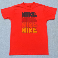 vintage 70s tee shirt NIKE rough block letters red rainbow authentic t-shirt XS XXS youth Medium Large