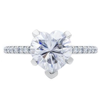 Heart Moissanite 5 Prongs Diamond Accent Ice Cathedral Solitaire Ring