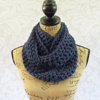 Ready To Ship Infinity Scarf Crochet Knit Navy Blue Women's Accessories Eternity Fall Winter