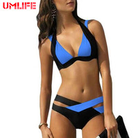2016 New Summer Sexy Bikini Set Swimsuits Push Up Swimwear Women Cross Double Halter Swim Bathing Suits