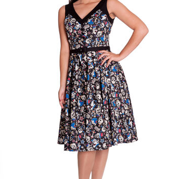 Rockabilly Pinup Nautical Rock Skull & Shark Party Swing Dress