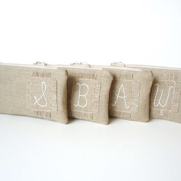 Set of 4 - Monogram Burlap Rustic Patch Zipper Clutch - Personalized Bridesmaids Gift - Rustic Wedding