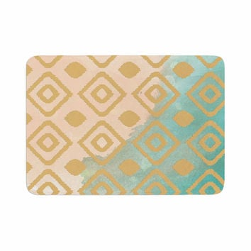 "Nika Martinez ""Watercolor Ikat"" Teal Gold Memory Foam Bath Mat"