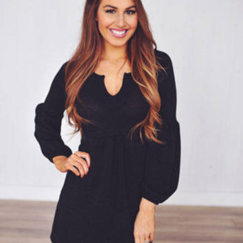 Knit Bell Sleeve Dress- Black*