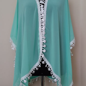Sale Beach  Kimono   Oversize cover up    Turquoise Color Breezy Resort-wear  HandmadebyNadya