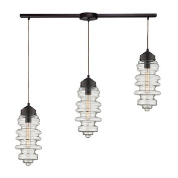 17205/3L Cipher 3 Light Pendant In Oil Rubbed Bronze And Clear Glass - Free Shipping!