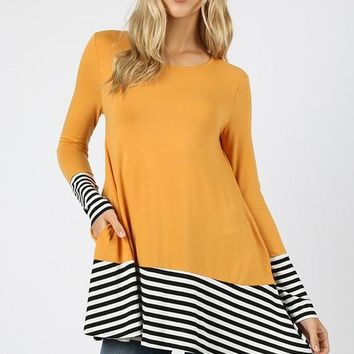 Premium fabric striped solid contrast long sleeve top