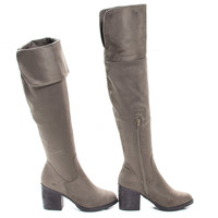 Victoria01 Taupe By Bamboo, Western Cowgirl Stack Heel Foldable Knee High Boots w Faux Fur Lining