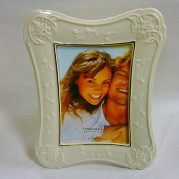 Stargazer Lily Picture Frame Fine Porcelain Accented with Gold 5 X 7 By Lenox