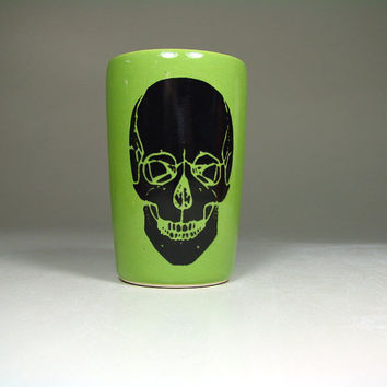 itty bitty cylinder calavera negra (avocado) - Made to Order / Pick Your Colour