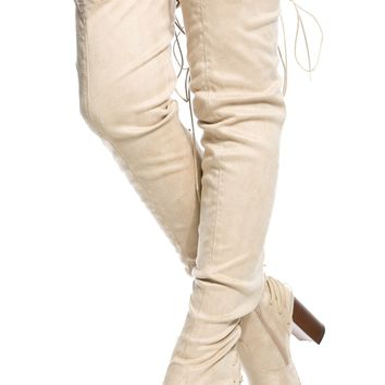 Nude Faux Suede Rear Lace Up Chunky Thigh High Boots @ Cicihot Boots Catalog:women's winter boots,leather thigh high boots,black platform knee high boots,over the knee boots,Go Go boots,cowgirl boots,gladiator boots,womens dress boots,skirt boots.