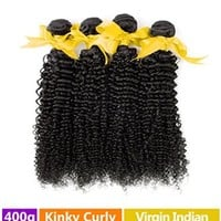 "Rechoo Mixed Length Indian Virgin Remy Human Hair Extension Weave 4 Bundles 400g - Natural Black,20""22""24""26"",Kinky Curly AFRO"