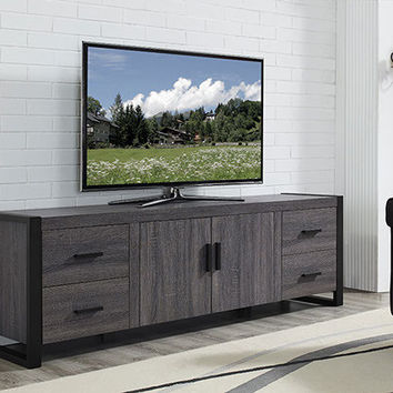 "70"" Charcoal Grey Wood TV Stand Console by Walker Edison"