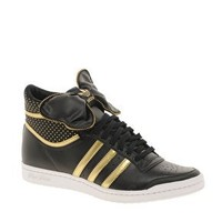 Adidas Top Ten Hi Sleek Bow Black/Gold Trainers at asos.com