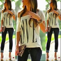 Casual off One Shoulder tee shirt