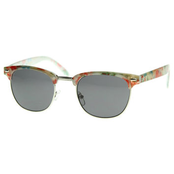 New Floral Print Hippy Half Frame Horn Rimmed Aviator Style Sunglasses