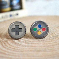 Game Consoles Earrings,gamepad button game player stud Earrings (E91)