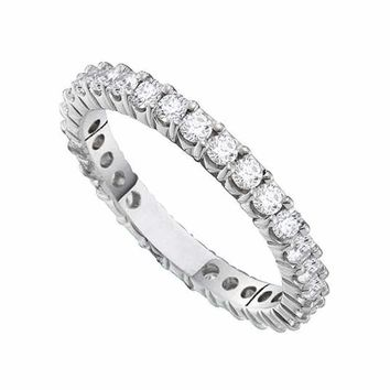 14kt White Gold Women's Round Pave-set Diamond Eternity Wedding Anniversary Band 1-2 Cttw - FREE Shipping (US/CAN)