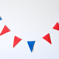 Felt Triangle Garland - Felt Bunting, Flag Garland, bright home decor, blue and red