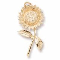 Sunflower Charm In Yellow Gold