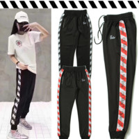 OFF-WHITE Women Fashion Print Sport Stretch Pants Trousers Sweatpants