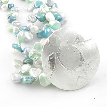 Turtle Fine Silver Disk Keshi Pearl Necklace