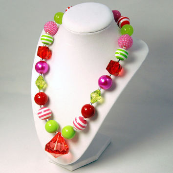 Christmas Necklace Girls Boutique necklace Chunky Beaded Necklace infant and baby necklace Pink, Lime and Red