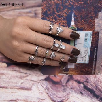 New Fashion Wedding Jewelry 10pcs / Set Ring Vintage Carved Flower Foliage Ethnic Wind Turtle Starfish Cute Charm Ring For Women