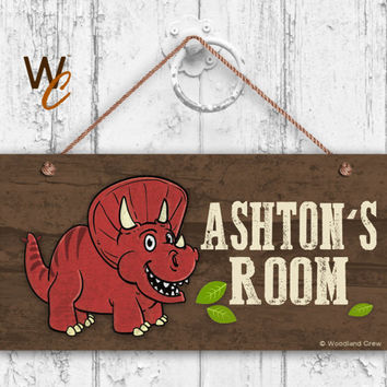 "Red Dinosaur Sign, Woodland Personalized Sign,Kid's Name, Kids Door Sign, Baby Nursery Wall Decor, 5"" x 10"" Sign, Made To Order"