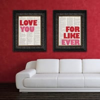 Valentines Day Gift LOVE You & FOR Like EVER art by Vintagraphy