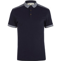 River Island MensNavy shoulder patch polo shirt