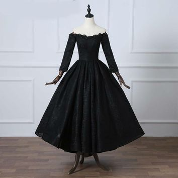 Black Lace Long Sleeve Prom Dress Elegant Boat Neck Beading Party Dress Special Occasion Prom Dress