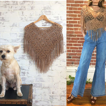 Vintage 1970's Sandstone FRINGE Crochet Festival Cropped Capelet Top || XS, Small And Medium.