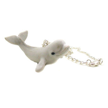 Beluga Whale Necklace, Charm Necklace, Charm Jewelry, Beluga Whale Pendant, Whale Jewelry, Beluga Whale Charm, Oceanographer Necklace