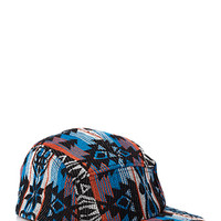 Tribal Print Five-Panel Hat Black/Blue One