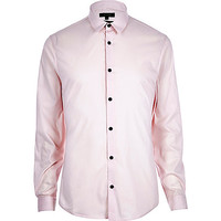 River Island MensPink stretch long sleeve shirt