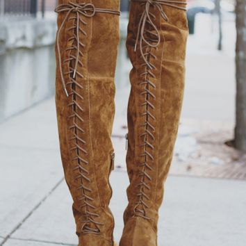 Full Throttle Over the Knee Boots - Whiskey