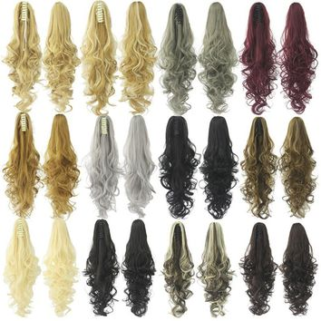 15 Colors Long Curly Claw Clip Drawstring Ponytail Hair Extensions Blond Hairpiece Wigs