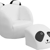 Kids Panda Chair and Footstool