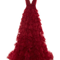 Marchesa Embroidered V-Neck Tulle Ball Gown Red