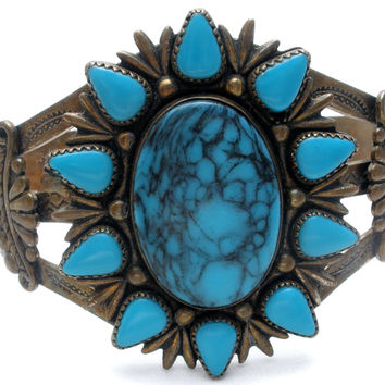 Bell Trading Nickel Silver Turquoise Cuff Bracelet