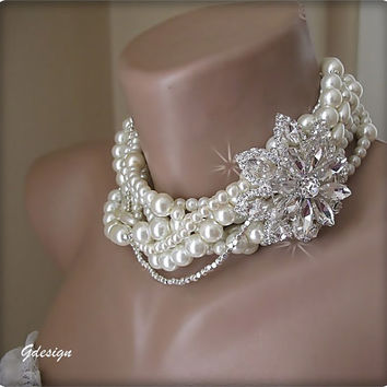 New.Every season wedding necklace.Chunky layered Wedding ivory pearl bib necklace,bridal,removable brooch