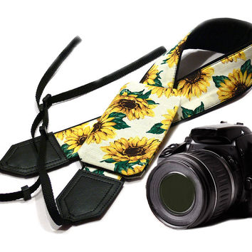 Camera Strap with Pocket. Sunflowers Camera Strap. DSLR / SLR Camera Strap. Photo Camera accessories. For Sony, canon, nikon, panasonic, fuji and other cameras.