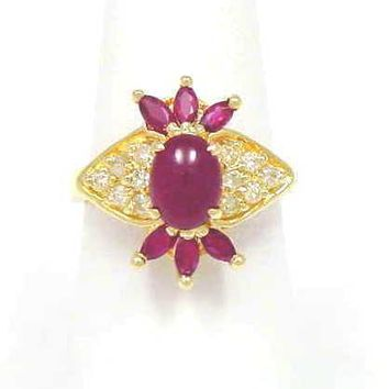 1.28CT GENIUNE CABOCHON RUBY & DIAMOND RING 18K YELLOW GOLD