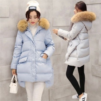 Luxurious Women Real Fur Winter Warm jacket Down jacket 90%Duck Down Coat Parka