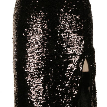 New Romantics Slit Sequin Panel Skirt - Black