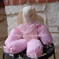 Easter Bunny shelf sitter, baby shower decor, nursery pink table decor, darling one of a kind